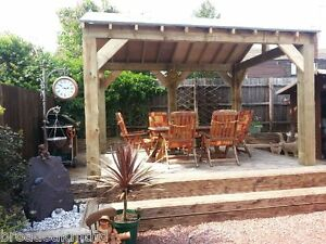 Open sided wooden garden shelter gazebo hot tub timber for Hot tub shelters