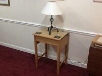 Restored vintage flat-topped oak school desk