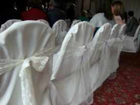 185 x Ex Hire Ivory Chair Covers for Sale