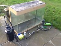 Large fish tank and filter