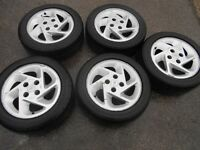 """15"""" GENUINE FORD RS TURBO ALLOY WHEELS / TYRES SET OF 5"""