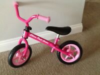 Girls Chicco Pink Balance Bike for 2-5 year olds