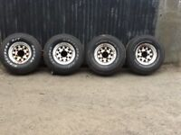 Set of 4 Landrover Modular Wheels with new tyres.