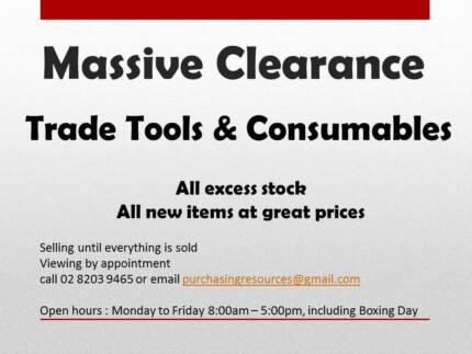 Clearance Sale - Trade Tools and Consumables ALL BRAND NEW