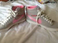 Nike size 4 hi tops grey and pink