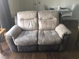 DFS - Grey/Silver 2 Seater Recliner Sofa and x2 Recliner Arm Chairs - 14 Months old