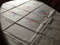 Rayon tablecloth with napkins x 4 49 by 53cloth is vintage