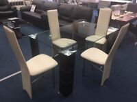 Clear Glass Dining Table & 4x Cream Leather Dining Chairs