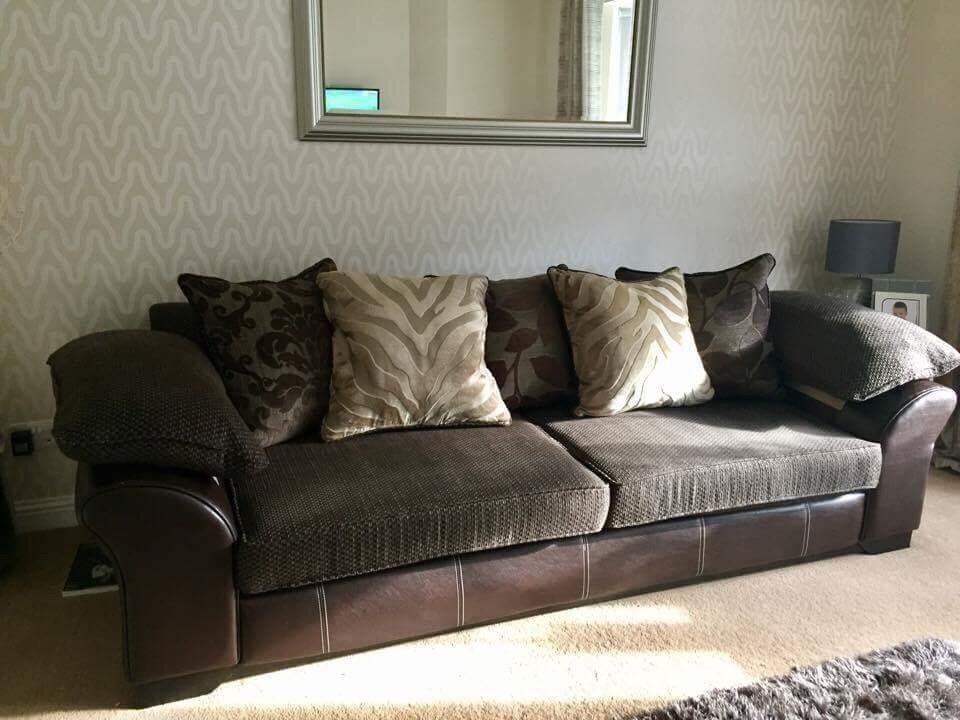 Dfs Marina 4 Seater Sofa In Brown Leather And Fabric 195