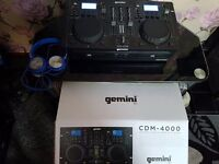 Gemini CDM-4000 Professional Dj Dual Cd Player Mp3 Usb Decks & Headset