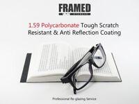 Glasses In-House Reglazing Service 1.59 Polycarbonate Single Vision Anti Glare Scratch Resistant