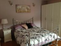 Crystal, chrome, double bed frame and memory foam mattress