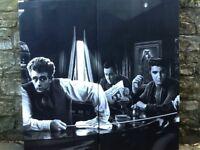 2 Large Brand new Pop Art Monochrome Canvas Picture Prints James Dean Presley Bogart 100 X 50 X 2 cm