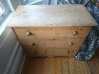 VICTORIAN/EDWARDIAN ANTIQUE COMPACT PINE CHEST OF DRAWERS