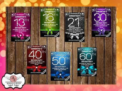 10 x Personalised 13th 16th 18th 21st 30th 40th 50th 60th Birthday Party Invites ()