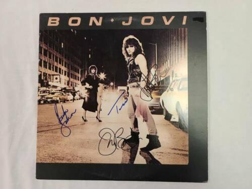 Bon Jovi Autographed Cover Debut Album with Record & COA
