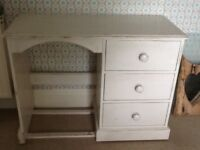 Distressed painted dressing table with three drawers