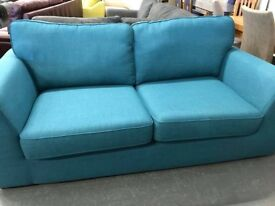 DFS Zap 2 seater teal blue fabric sofa