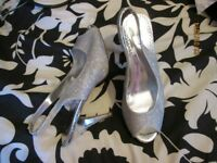 SILVER HIGH HEEL SANDALS SIZE 7 HAS A FEW MARKS ON THE HEELS NOT THAT NOTICEABLE