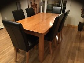 Solid Oak Dining Table & 6 Brown Leather Chairs