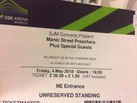 2 x standing tickets - Manic Street Preachers