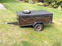 Garden trailer Line 1 model Ferndown with tailgate and spare wheel with Tonneau cover. £125 as seen.
