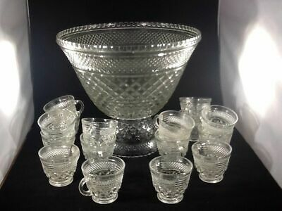 Vintage Wexford 39 pc Clear Crystal Diamond Point Punch Bowl Set - Punch Bowl Set