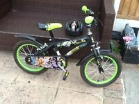 """Boys 16"""" Ben 10 Bike with helmet and stand. Mint condition."""