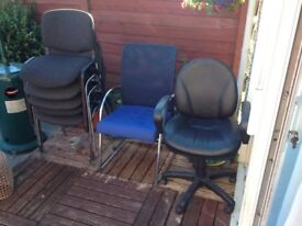 mixture of office chairs 1 year old . 8 in total can split , if u make me an offer,