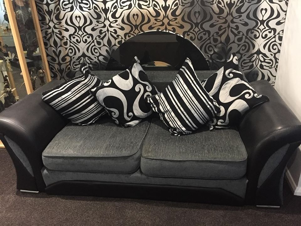 Pair Of 3 Seater Faux Leather And Fabric Sofas In Highcliffe