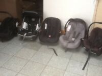 First size group 0+ baby car seats with swing over carry handles for newborn to 10kg-£10 to£20each