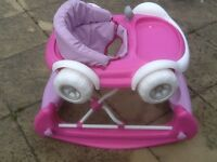 This is a 2 in 1 convertible baby walker/rocker however sold only as a rocker as 1wheel is damaged