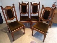 4 x Arts and Crafts Oak Dining Chairs by Wylie and Lochhead of Glasgow