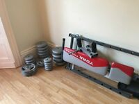 Whole Gym at Home (Bench + 3 Barbells + dumbbells set+ 100 Kg Weight Discs)