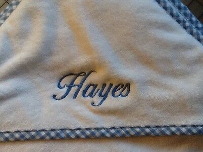 Pottery Barn Kids Hooded Towel Nursery monogramed HAYES Blue Checked New