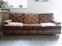 G-Plan 4 Seater Emperor Sofa, in Lotus fabric. 1970's vintage collectible.
