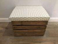 By The Sea - Nautical Themed - Upholstered Padded Lid - Wooden Crate