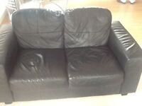 IKEA black leather great condition two seater sofa buyer mustcollect