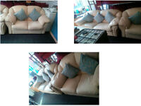 CREAM TWO SEATER AND THREEE SEATER DFS LEATHER SOFAS VERY COMFY AND CHUNKY DESIGN