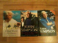3 John Simpson Books Autobiographies - BBC - A Mad World, News from No Man's Land & Strange Places