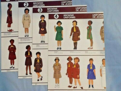 4 Lr. POSTERS: Brownie Girl Scouts  & Guides UNIFORMS 1985 WAGGGS CHRISTMAS GIFT