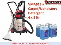 Sealey VMA915 & 4 x 5 ltr Car Valet Machine Wet/Dry Carpet Upholstery Cleaner
