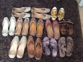 Women's shoes party and casual some new some worn size 5 two pairs size 4 (12 pairs) £100 for all