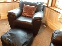 Black leather sofa 2 chairs and foot rest