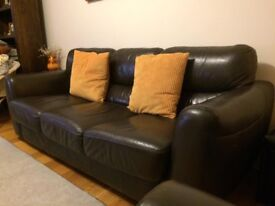 3 Seater Real Leather Sofa & Armchair
