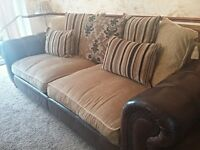 3 piece SCS suite. 4 seater sofa, chair and large puffy