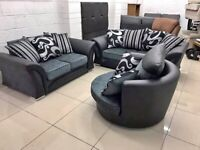🌼 🌻BRAND NEW SHANOON BLACK AND GREY CORNER OR 3+2 SEATER SOFA IN STOCK BUY NOW 🤩