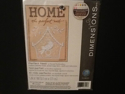 Dimensions Home The Perfect Nest Crewel Embroidery Kit 5X7 Printed Beige Fabric