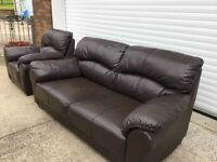 Compact 3 & 1 brown full leather sofas suite