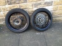 wr125 supermoto wheels complete!